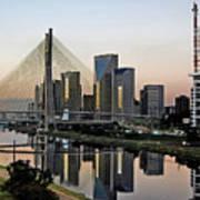 Stayed Bridge And Modern Sao Paulo Skyline Poster by Carlos Alkmin