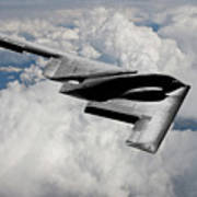 Stealth Bomber Over The Clouds Poster