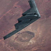 Stealth Over The Arizona Meteor Crater Poster