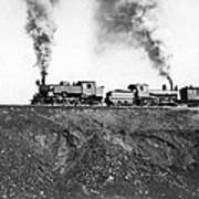 Steam Engines Pulling A Train Poster