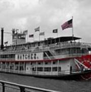 Steamboat Natchez Black And White Poster
