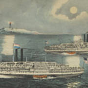 Steamboats Passing At Midnight On Long Island Sound Poster