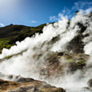 Steaming Hot Springs In Reykjadalur Iceland Poster