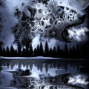 Steampunk Polar Bear Landscape Poster