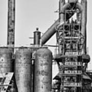 Steel Blast Furnace Bw Poster by Chuck Kuhn