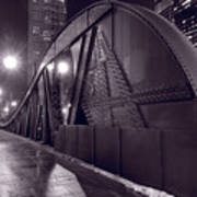 Steel Bridge Chicago Black And White Poster