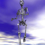 Steel Running Skeleton On Wet Sand Poster