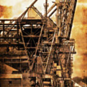 Steelmill Boatdock Cranes Detroit Poster