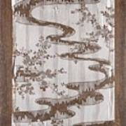 Stencil For Textile With Pattern Of Bush Clover And Meandering Stream Poster