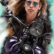 Steven Tyler On A Bike Poster