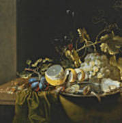 Still Life Of Hazelnuts Grapes Oysters And Other Foods On A Draped Table Poster