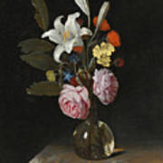 Still Life Of Roses Lilies And Other Flowers In A Glass Vase On A Marble Ledge Poster