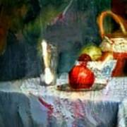 Still Life Oil Painting Table With Pomegranate Ceramic Kettle Glass Knife And Bowl Of Fruit Pears Linen Sketch Painting Life Drawing Poster