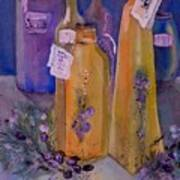 Still Life Olive Oil And Olive Twigs Poster
