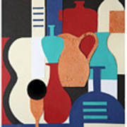 Still Life Paper Collage Of Wine Glasses Bottles And Musical Instruments Poster