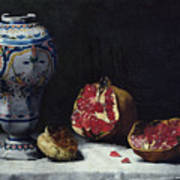 Still Life With A Pomegranate Poster by Auguste Theodule Ribot