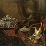 Still Life With Dead Game And A Silver Tureen On A Turkish Carpet Poster