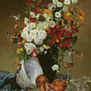 Still Life With Flowers And Pomegranates Poster