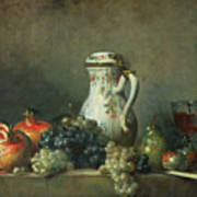 Still Life With Grapes And Pomegranates Poster by Jean-Baptiste Simeon Chardin
