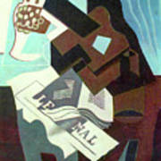Still Life With Guitar, Book And Newspaper   Poster