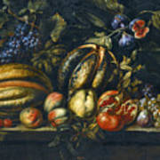 Still Life With Melons Apples Cherries Figs And Grapes On A Stone Ledge Poster