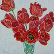 Still Life With Open Red Tulips Poster