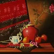 Still Life With Red Vase. Poster