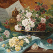Still Life With Roses In A Cup Ornamental Object And Score Poster