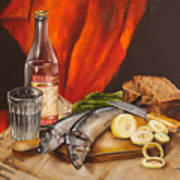 Still Life With Vodka And Herring Poster by Roxana Paul