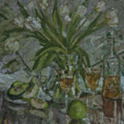 Still Life With White Tulips Poster