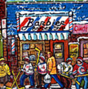 Stilwell's Candy Stop Winterscene Painting For Sale Montreal Hockey Art C Spandau Snowy Barber Shop Poster