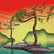 Stippling Geometric Pine 4 Poster by GuoJun Pan