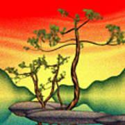 Stippling Geometric Pine Poster