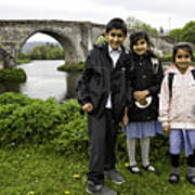 Stirling School Children By The Medieval Bridge  Poster
