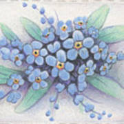 Stitched Forget-me-nots Poster