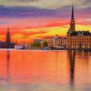 Stockholm Fiery Sunset Reflection Poster