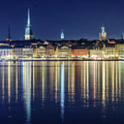 Stockholm Old City Magic Quartet Reflection In The Baltic Sea Poster