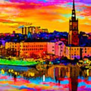 Stockholm Reflective Art Poster