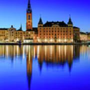 Stockholm Riddarholmen Blue Hour Reflection Poster