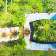 Stone Bridge, Canal And Bougainivillea Poster