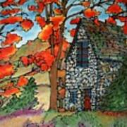Stone Cottage Silk Painting Poster