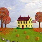 Stone House In Autumn Poster