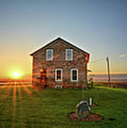 Stone House Sunrise Poster