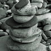 Stones Still Life Monochrome Poster