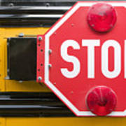 Stop Sign On School Bus Poster