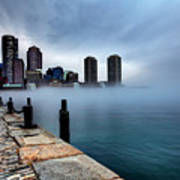Storm Clouds And Fog Approaching Downtown Boston Massachusetts.  Poster