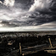 Storm Clouds Over Beached Shipwreck Poster