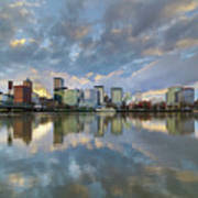 Storm Clouds Over Portland Skyline During Sunset Poster