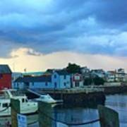 Storm Clouds Over Rockport Harbor Poster