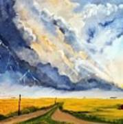 Storm Over The Country Road Poster